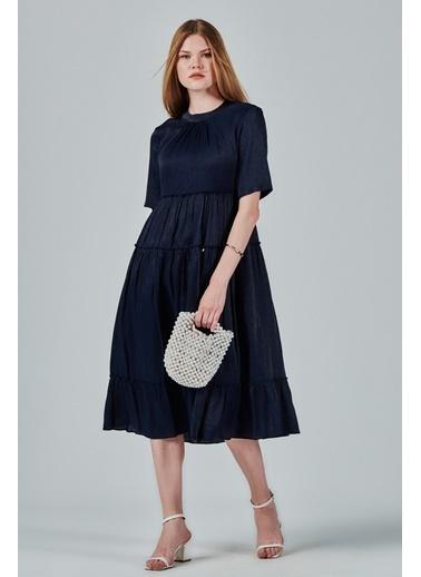 JEANNE D'ARC A Form Büzgülü Salaş Rengi Elbise  Lacivert